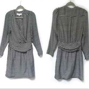 TRINA TURK black white silk career dress 6